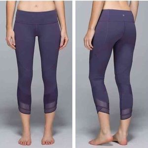 Lululemon Emerge Renewed purple mesh crop leggings